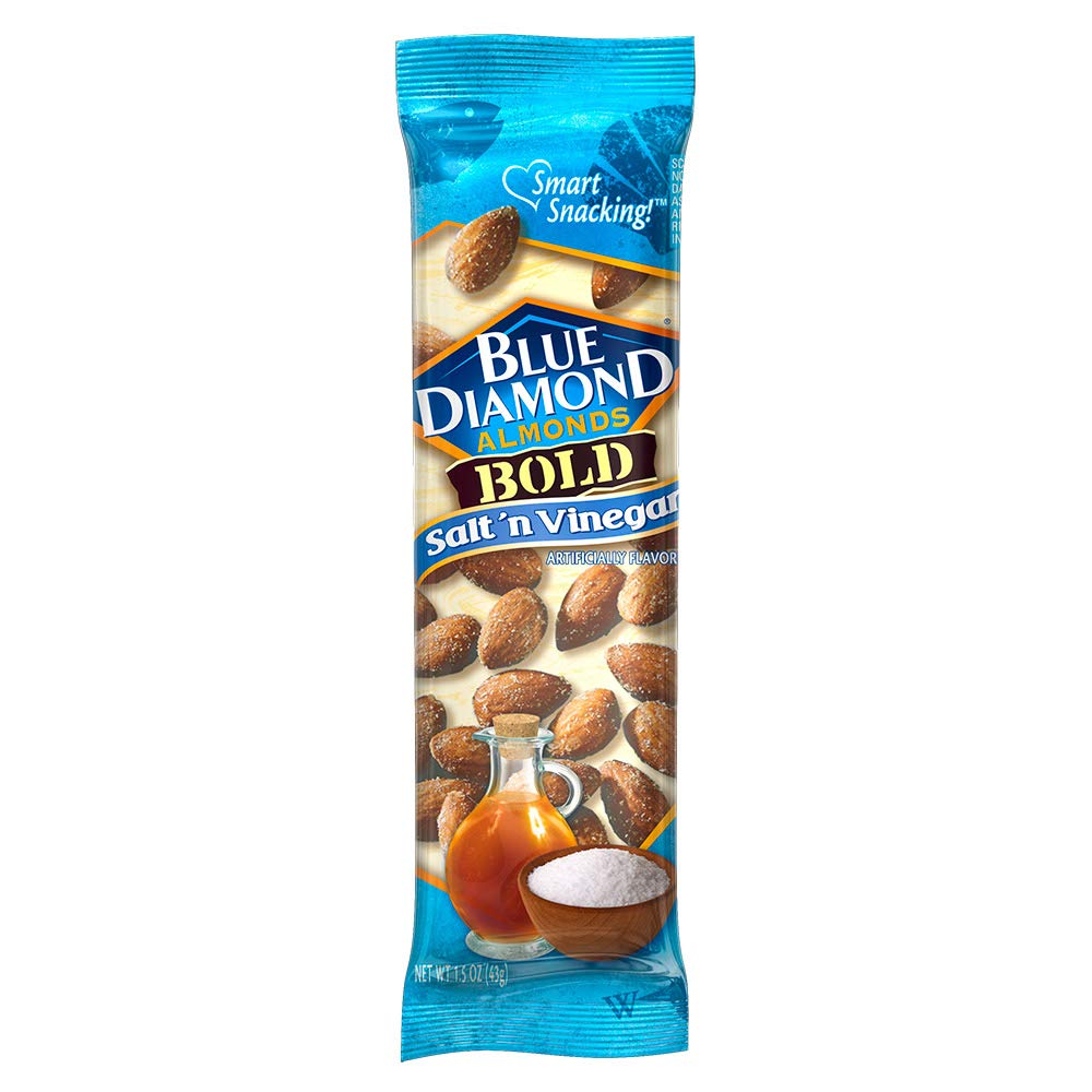 Blue Diamond Almonds, Bold Salt & Vinegar, 1.5 Ounce, 12 Count Pack of 2