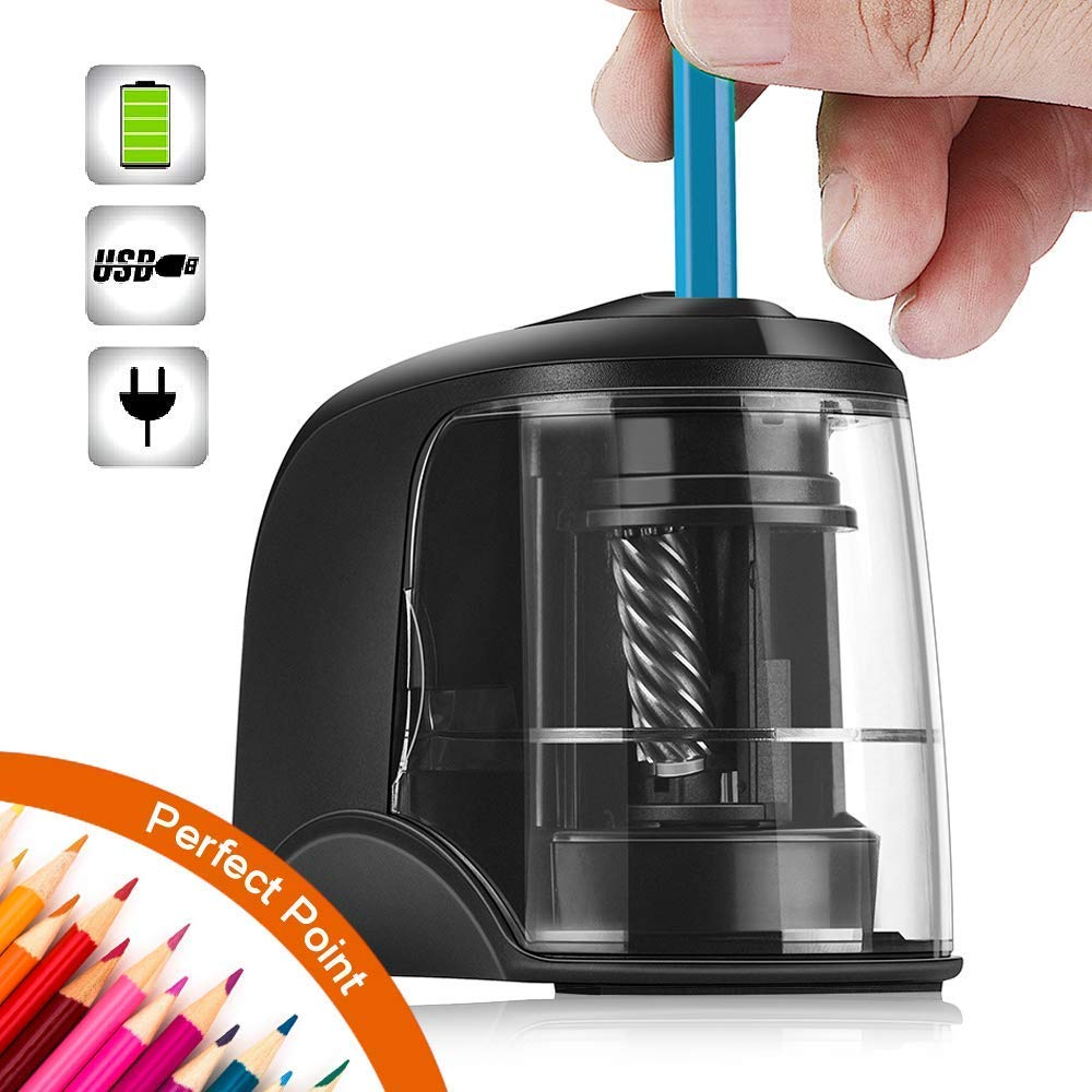 SMARTRO Electric Pencil Sharpener Best Heavy Duty Helical Steel Blade for Artists Kids Adults Colored Pencils by SMARTRO