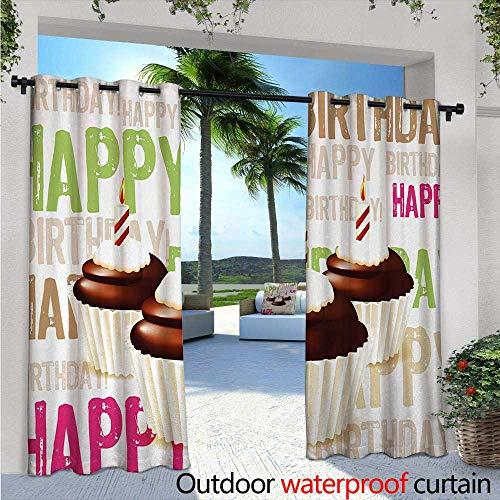 BlountDecor Birthday Fashions Drape Grunge Retro Happy Birthday Pattern with Three Chocolate Cupcakes Candles Print Outdoor Curtain Waterproof Rustproof Grommet Drape W120 x L84 Multicolor