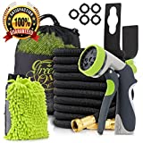 Father's Day Special Gift Watering Kit: 50ft Expandable Garden Hose with Triple Natural Latex Core, Solid Brass Connector Extra Strength Fabric + 8 Pattern Spray Nozzle + Free Bonuses/Green Oasis