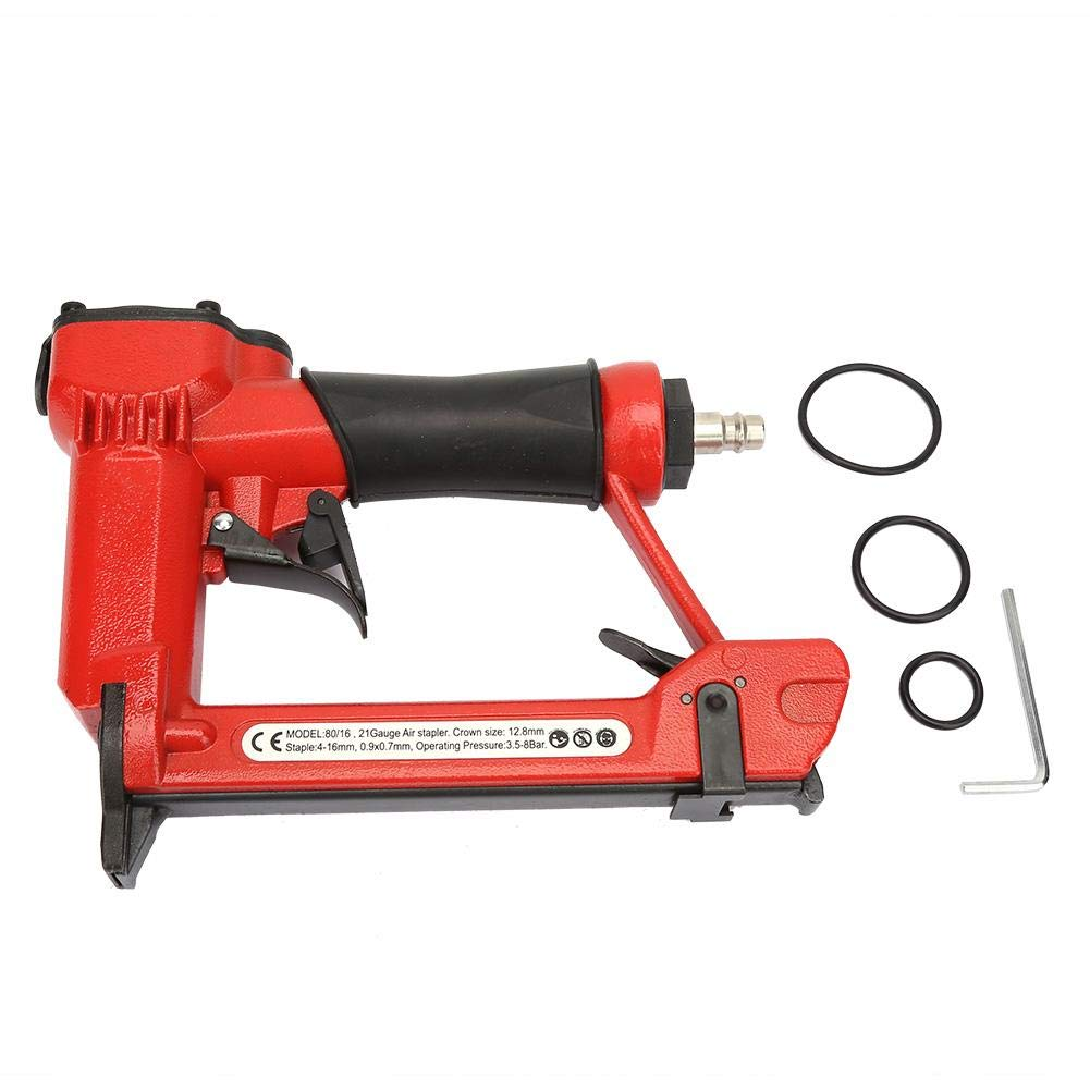 Pneumatic Nail Gun Handheld Air Stapler Nailer Woodworking Tool with Safety Switch for Accidental Firing Prevention
