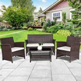 Cheap TANGKULA Outdoor Patio Furniture 4 Piece Cushioned Sofa and Coffee Table Set Tea Table with 2 Shelves Lawn Balcony Pool Compact Conversation Set