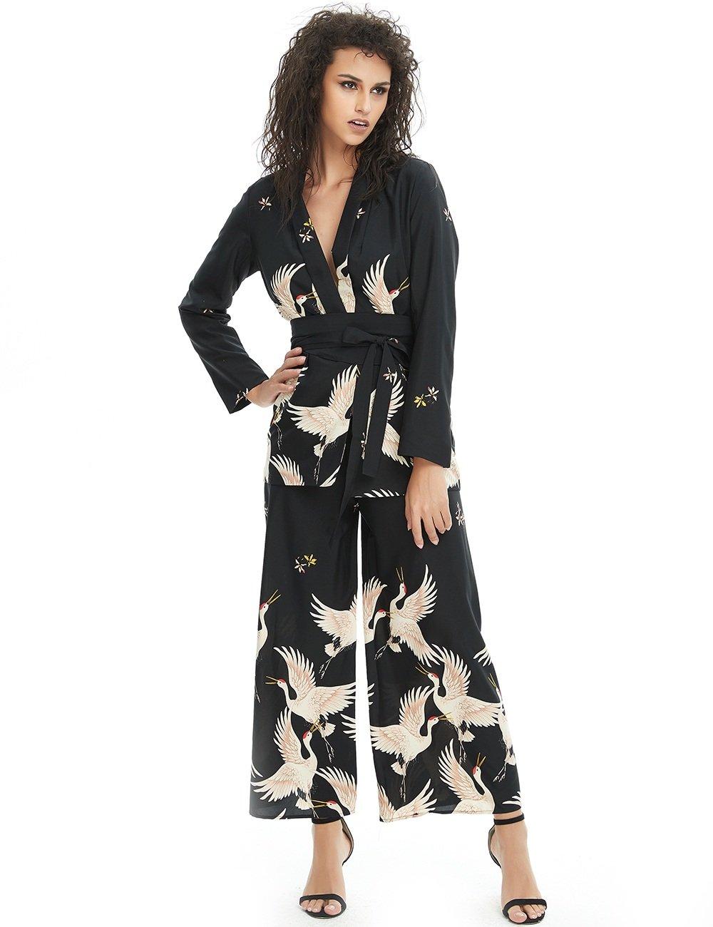 Deviz Queen Kimono Jacket Women Printed Crane (Black, M)