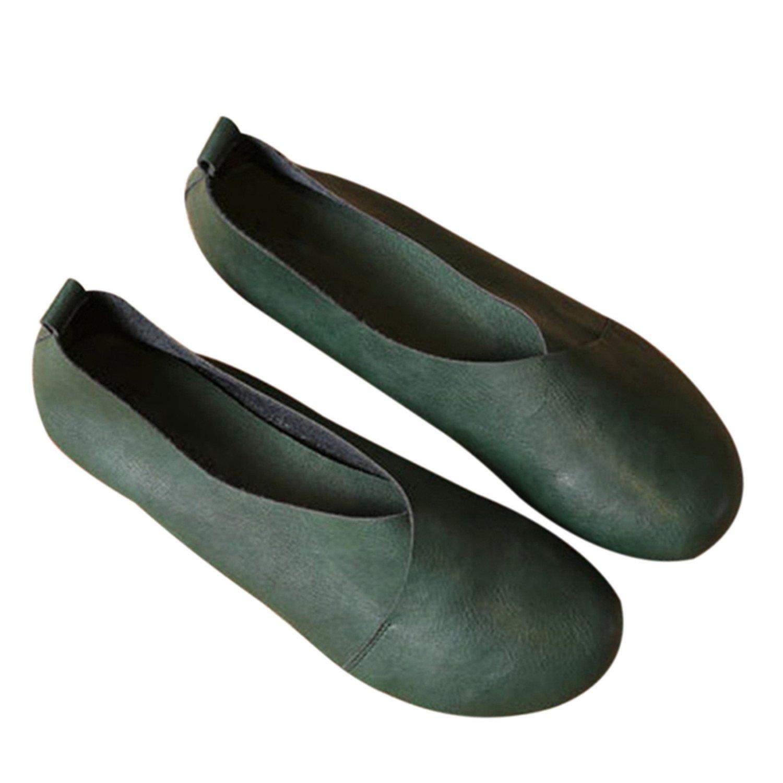 Amazon.com | Frozac 2018 Cuero auténtico Plana Zapatos Mujer cosido a Mano de Cuero Mocasines zurriago Flexible Primavera Casual Zapatos Mujeres pisos ...