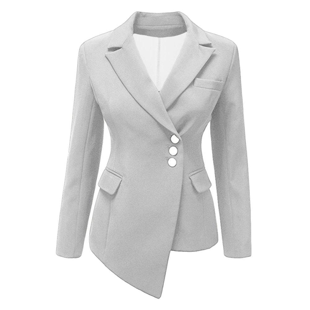 VERYCO Women Suit Blazer Jacket Ladies Asymmetric Lapel Long Sleeve Office Casual Outwear Tops