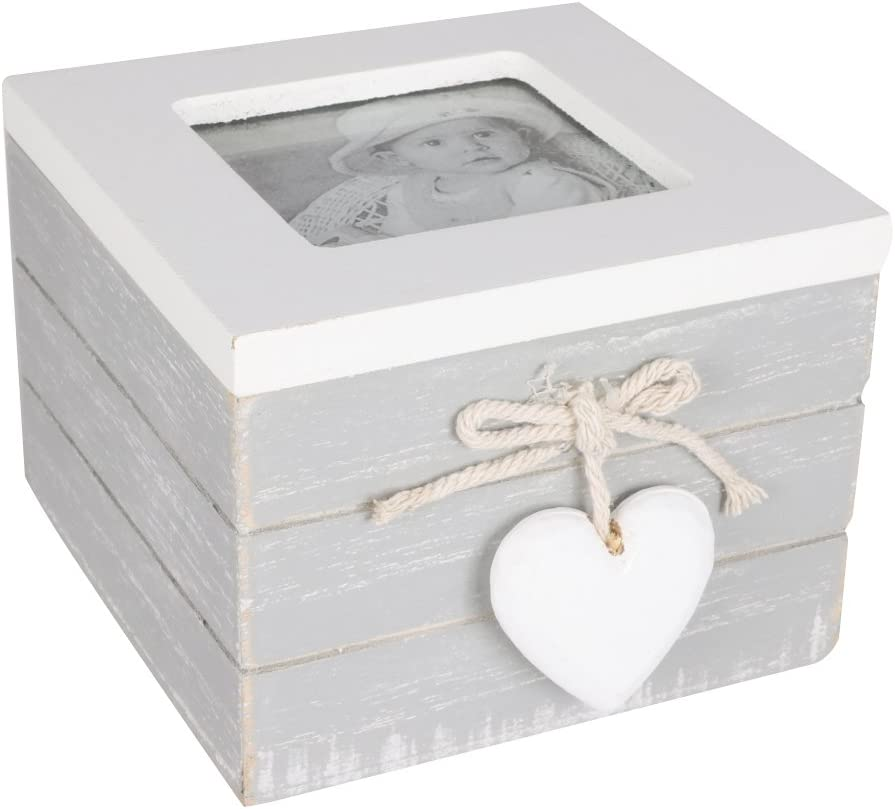 Hermosa caja de recuerdos de madera con portafotos estilo