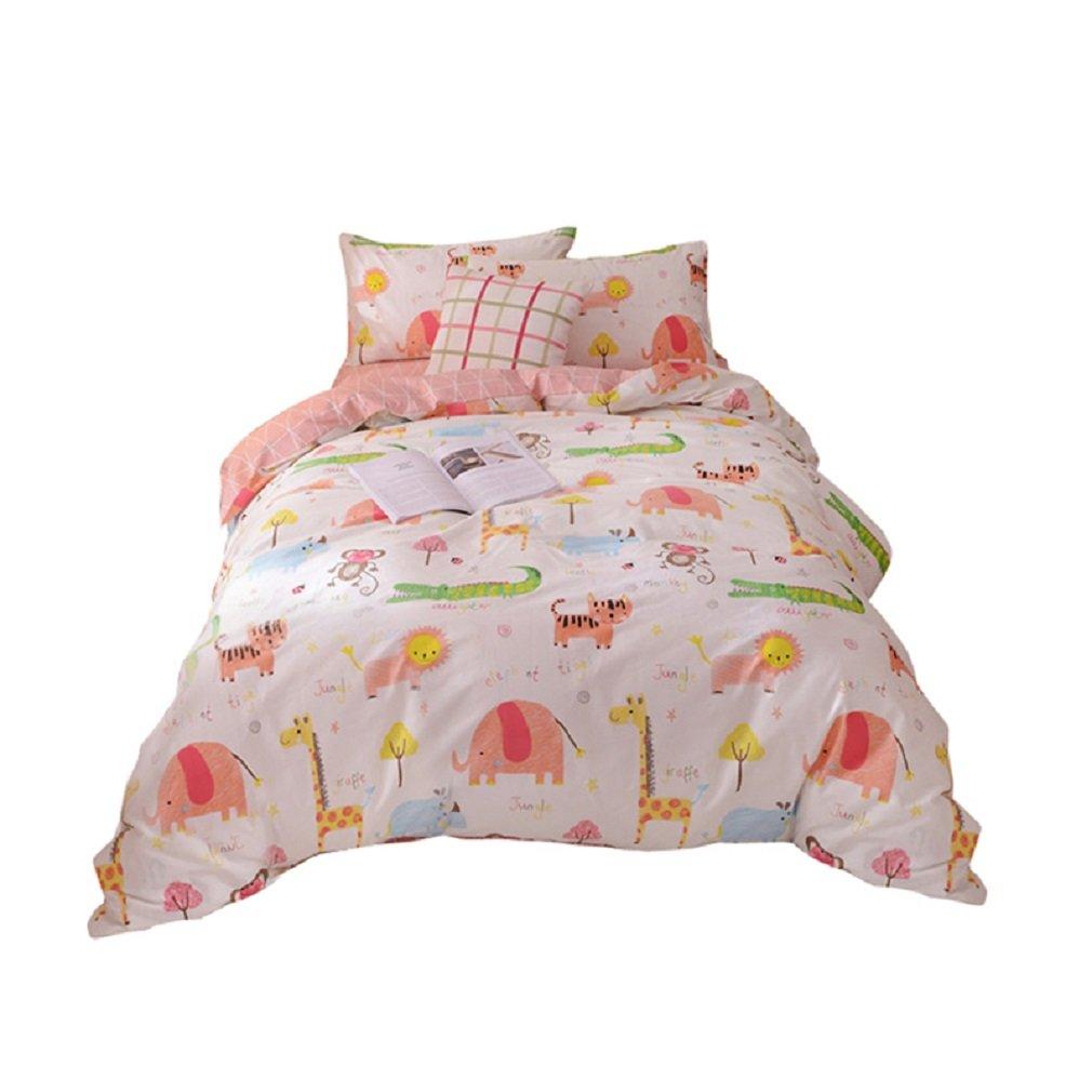 JIBUTENG Home Textiles 100% Cotton Lively Zoo Duvet Cover Set Animal Lion Elephant Tiger Bedding Sets Children Quilt Cover 4Pcs Queen Size (Queen)