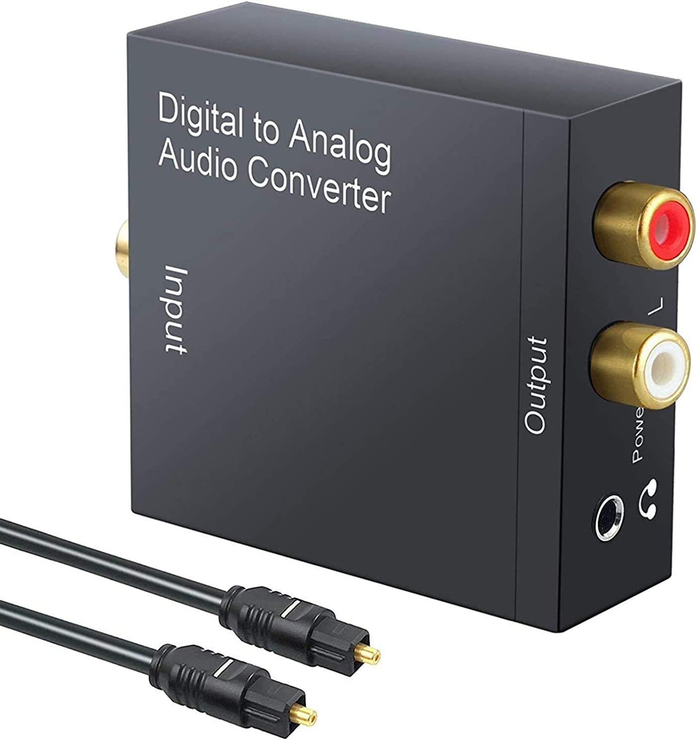 T Tersely DAC Digital to Analog Converter 192KHz SPDIF Toslink to Analog Stereo RCA 3.5mm Audio L/R Converter Adapter with Optical Cable for PS3 Xbox HD DVD PS4 Home Cinema Systems AV Amps Apple TV