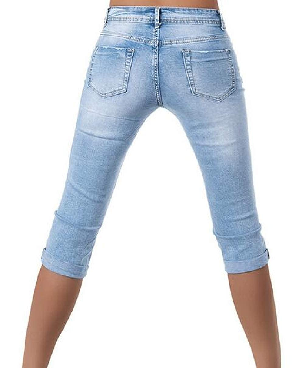 YIhujiuben Womens Fashion Shorts Mid Rise Stretchy Denim Destroyed Capri Jeans