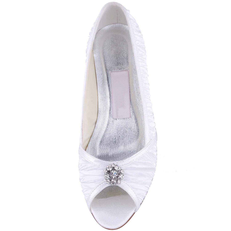 Qiusa GYMZ676 Damen Handmade Satin Abend Party Party Party Prom Braut Hochzeit Schuhe Pumps Sandalen Flatfs (Farbe   Weiß-1.5cm Heel Größe   8.5 UK) 1c80a3