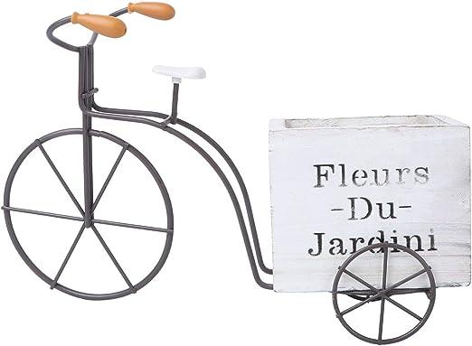 YARNOW Decoración para El Hogar Bicicleta Caja de Flores de Madera Adorno Decorativo Artesanía Caja de Plantas de Madera (Blanco Gran Tamaño Estilo Aleatorio): Amazon.es: Jardín