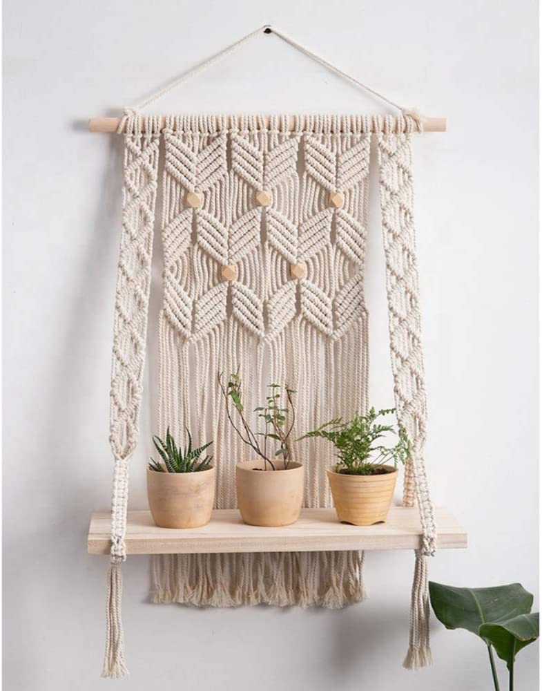Mifflin Infinity Macrame Wall Hanging Shelf – Woven Hanging Wall Décor - Large Crochet Floating Shelf for Decorations and Flowers - Boho Chic Home Décor Wall Art – Bamboo Wood and Woven Macrame