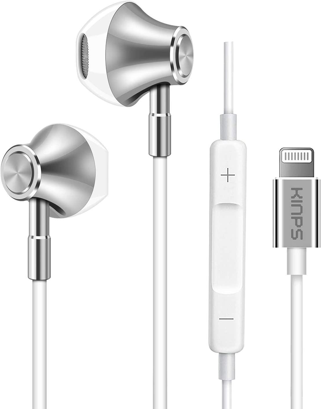 KINPS Apple MFI Certified in-Ear Earphones with Lightning Connector, Earbuds with Remote Microphone Controller Compatible with iPhone 11 Pro/11/X/XS/XS Max/XR/8/7 and so on (Silver)
