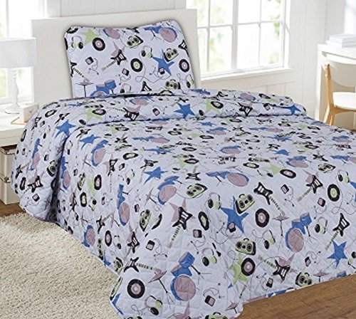 Twin Instruments Printed Quilt Bedding Bedspread Coverlet Pillow Case 2Pc by Bedding Set