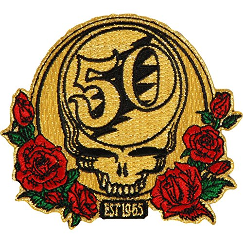 Application Grateful Dead 50th Anniversary Metallic Threads with Red Roses & Green Leaves Patch Anniversary Jacket Patch