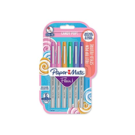vente usa en ligne bons plans sur la mode plus grand choix de 2019 Paper Mate Flair Felt Tip Pens, Ultra Fine Point (0.4mm), Candy Pop  Colours, 6 Count
