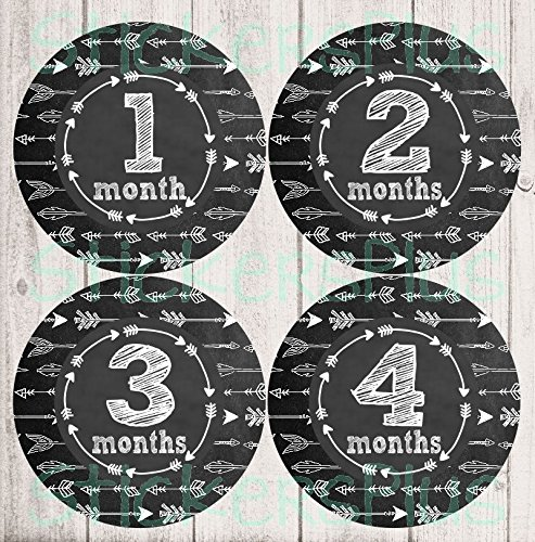 (Gender Neutral Baby Girl or Boy Month Stickers Monthly Baby Milestone Stickers Chalkboard Chalk Arrow Tribal Arrows I)