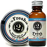 The Fresh Man Beard Oil and Beard Balm - Spearmint & Eucalyptus - Essential Oil Scented Beard Conditioner and Beard Balm Bundle by The 2 Bits Man