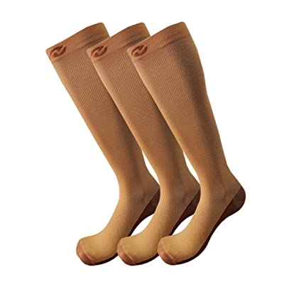 6 Pairs Copper Compression Socks For Men & Women - Best Medical, Nursing, for Running, Athletic, Edema, Diabetic, Varicose Veins, Travel, Pregnancy & Maternity - 15-20mmHg