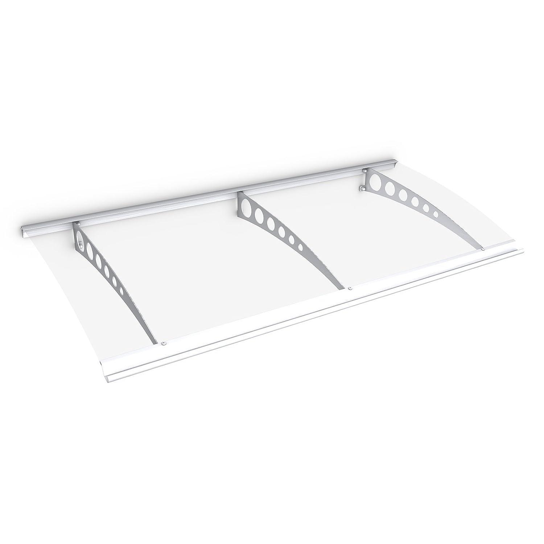 Schulte Vordach /Überdachung Haust/ürvordach 160x90cm Polycarbonat klar Stahl wei/ß Pultbogenvordach