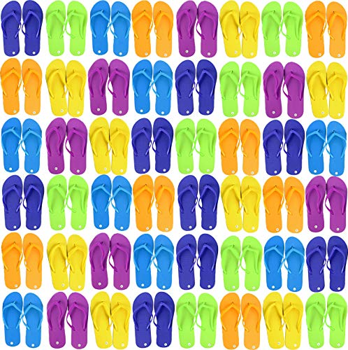 Wholesale Flip Flops, 48 Pairs, Many Colors, Men Women Kids, Wedding, Beach, Pool Party, Bulk Pack Slippers (Assorted Solids)]()