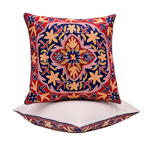 BluSpirits Silk Square Cushion Cases Hand embroidered various designs Pillow Cover (16