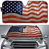 Big Hippo Sun Shade, Windshield Sun Shade American Flag Sunshades Keep Vehicle Cool Protect Your Car from Sun Heat & Glare Best UV Ray Visor Protector(Size: 63'X 28.5')