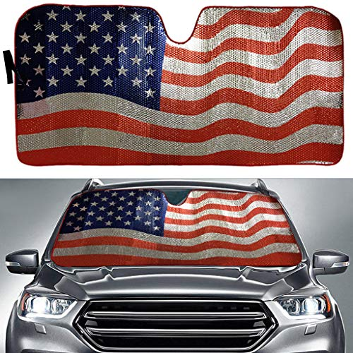 Big Hippo Sun Shade, Windshield Sun Shade American Flag Sunshades Keep Vehicle Cool Protect Your Car from Sun Heat & Glare Best UV Ray Visor Protector(Size: 63