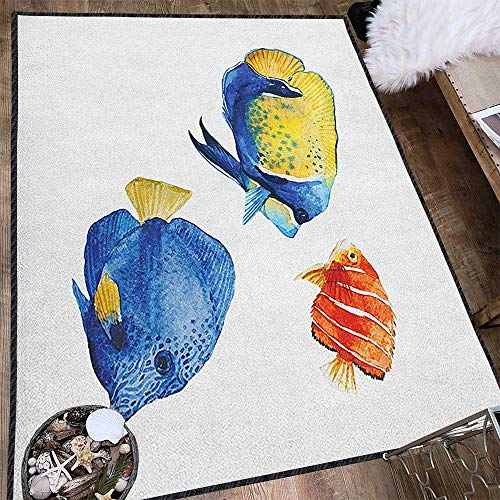 Fish Abstract Design Area Rug,Tropical Aquarium Life Discus Fish and Goldfish in Different Patterns Provides Protection and Cushion for Floors Azure Blue Yellow Scarlet 63