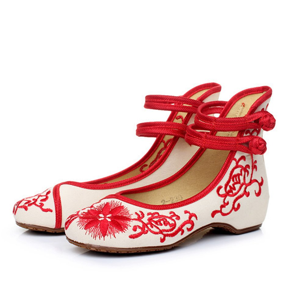 ALBBG Embroidered Chinese Style Flats Ballet Embroidery Crafts Women's Shoes Red White Black (B(M) US8/EU39/UK6/CN39 Medium, Red-2)