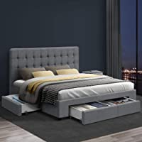 Artiss Double Bed Frame Fabric with Storage Drawers - Grey
