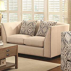 Coaster Home Furnishings Casual Loveseat, Brown/Taupe