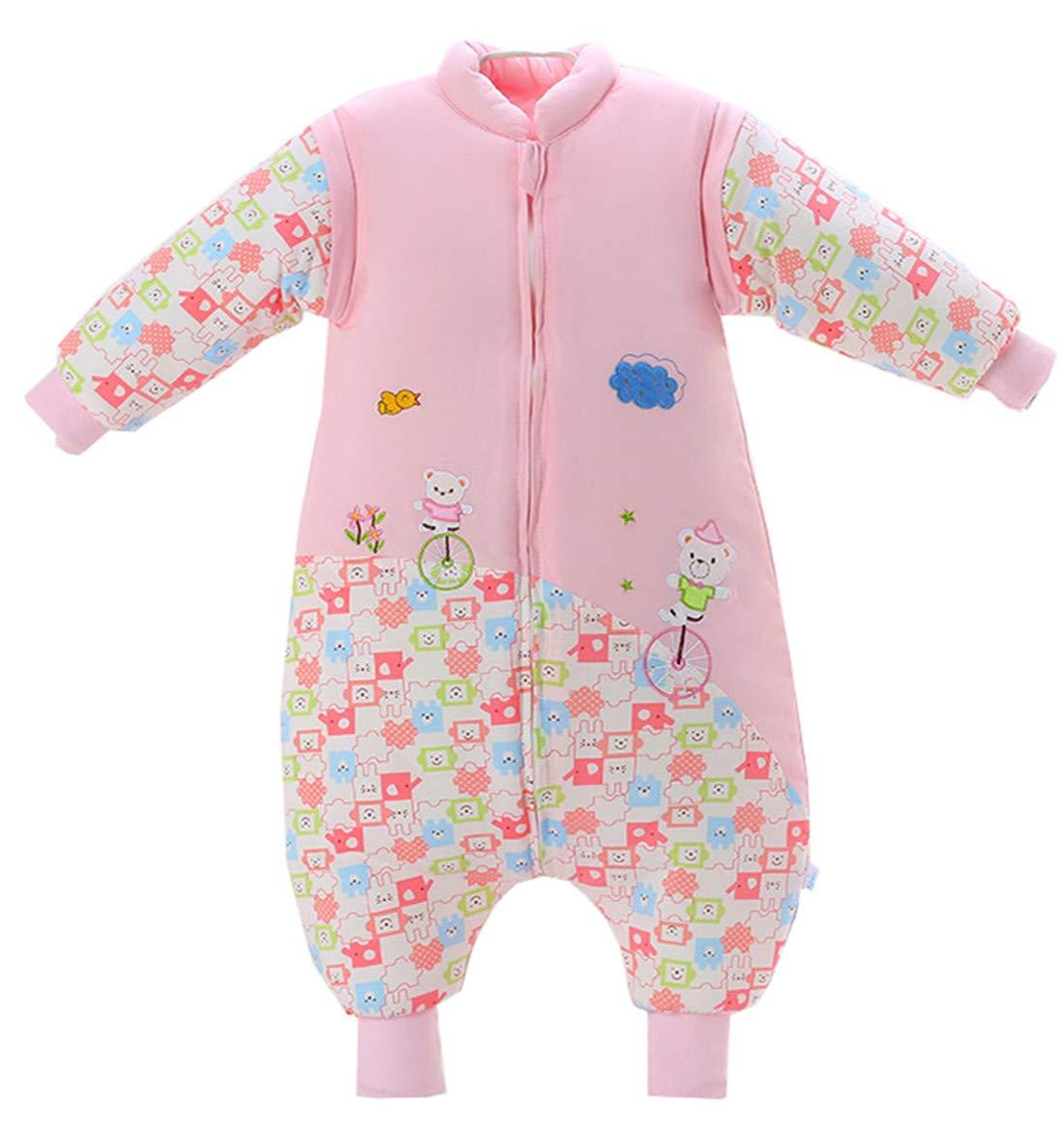 Chilsuessy Baby Schlafsack mit Füßen Winter Kinderschlafsack Jungen Babyschlafsack mit Beinen Mädchen,abnehmbar Langarm, Pink, M/Koerpergroesse 70-80cm