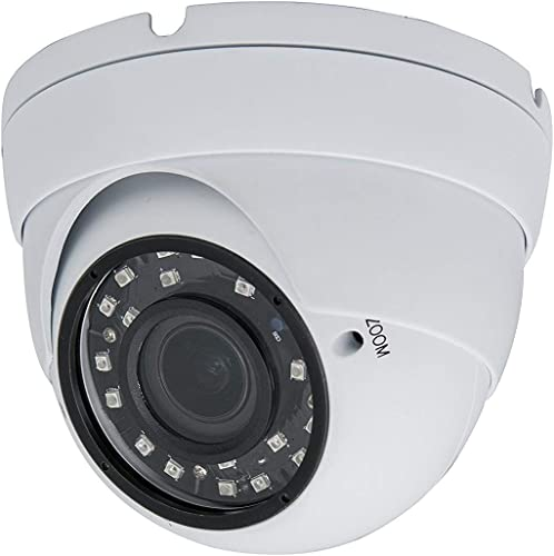 Evertech 4-in-1 TVI AHD CVI 960H 1080P HD Security Camera Indoor Outdoor Manual Zoom 2.8-12mm Vari-Focal Lens Dome Security Surveillance Camera with with Free Warning CCTV Sign