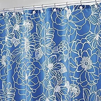 mDesign tenda doccia - 183 cm x 183 cm - tenda idrorepellente - tenda per doccia e per vasca - durevole nel tempo - colore blu e bianco - design fiorito MetroDecor COMIN18JU090881