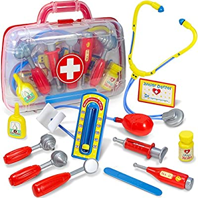 Kidzlane Doctor Kit for Toddlers – 12pcs Play Doctor Set for Kids – 11 Medical Equipment with a Sturdy Medical Kit Carrying Case: Toys & Games