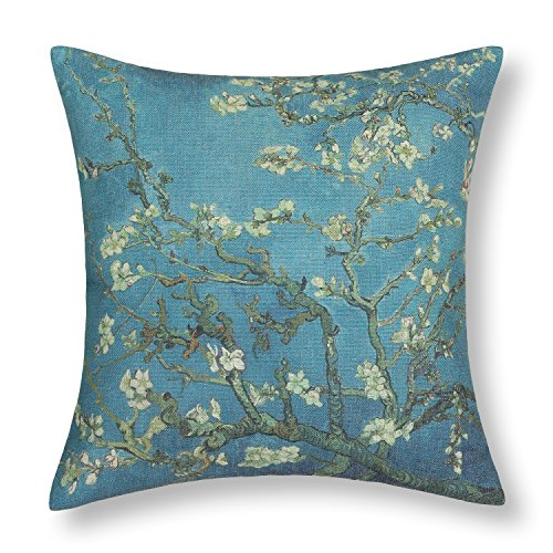 (CaliTime Canvas Throw Pillow Cover Case for Couch Sofa Home Decoration Famous Picture Print 18 X 18 Inches Van Gogh Painting Almond Blossom)