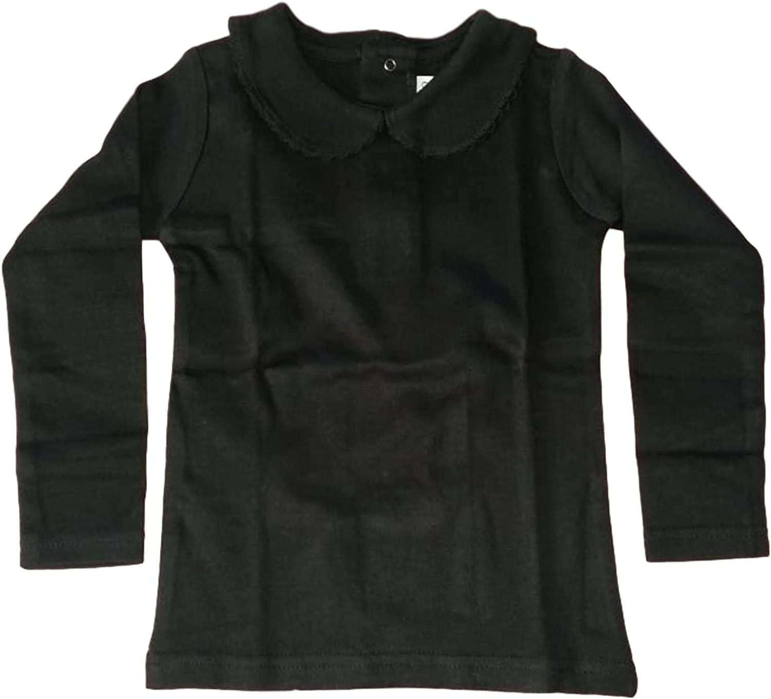 BABY GIRL COTTON PETER PAN COLLAR LONG SLEEVE SOLID COLOR TOP T-SHIRT CLASSY