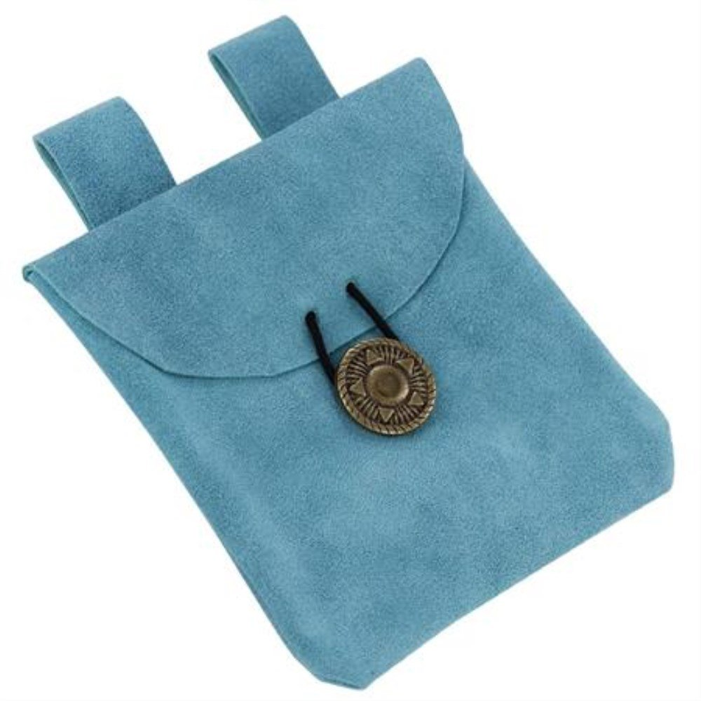 Skyburst Blue Small Medieval Renaissance Cornflower Blue Suede Leather Belt Pouch by General Edge (Image #1)