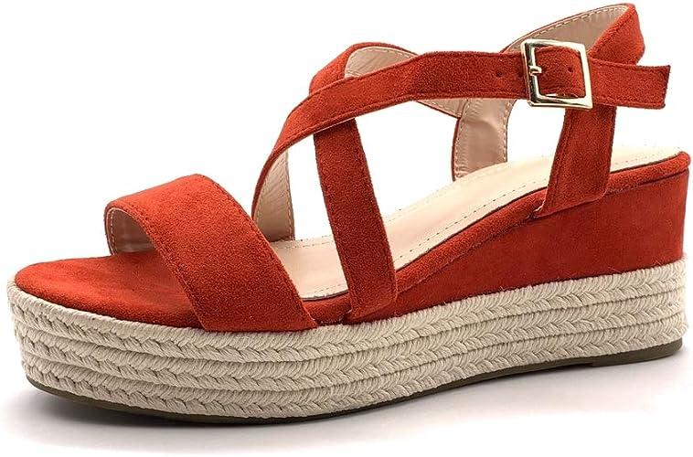 Angkorly Chaussure Mode Sandale Espadrille FolkEthnique de Plage Bohème Femme Lanières croisées avec de la Paille tressé Talon compensé