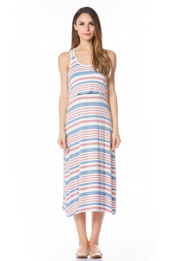 Bearsland Women's Long Style Nursing Breastfeeding Dress,Pink,X-Large
