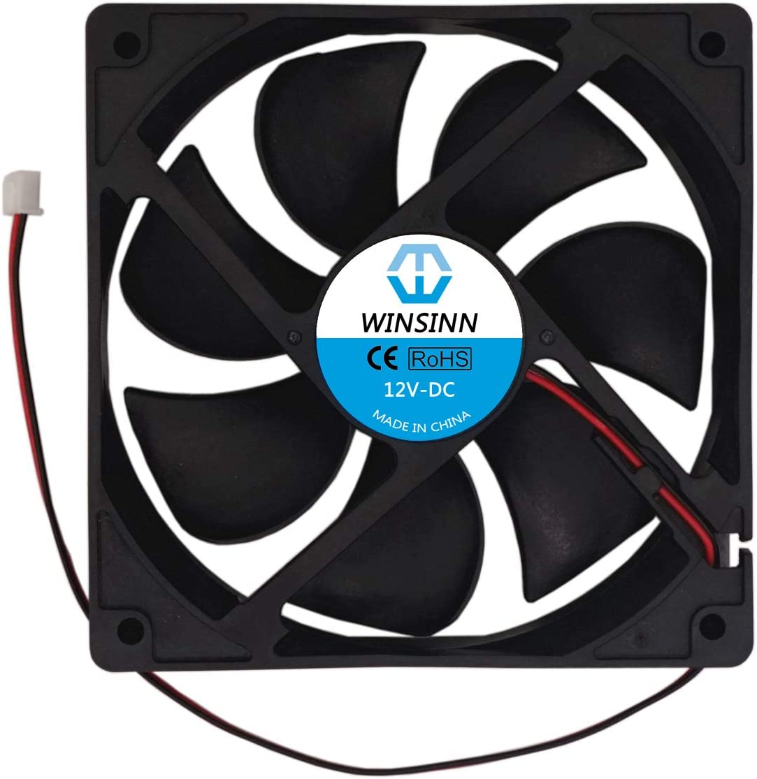 WINSINN 120mm Fan 12V Brushless 12025 120x25mm for Cooling PC Computer Case CPU Coolers Radiators - 2Pin