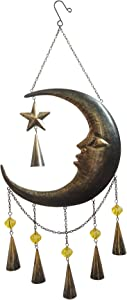 Comfy Hour Farmhouse Home Decor Collection Metal Art Decorative Moon-Face Star Windchime Hanging Wind Chime Windbell 29