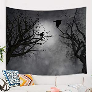 Mystic Fog Forest Tapestry Gothic, Birds at Branches On Creepy Jungle at Deep in Dark Forest Tapestry Wall Hanging, Halloween Tapestry Blanket Wall Decor for Bedroom Living Room Dorm, 60X40 in