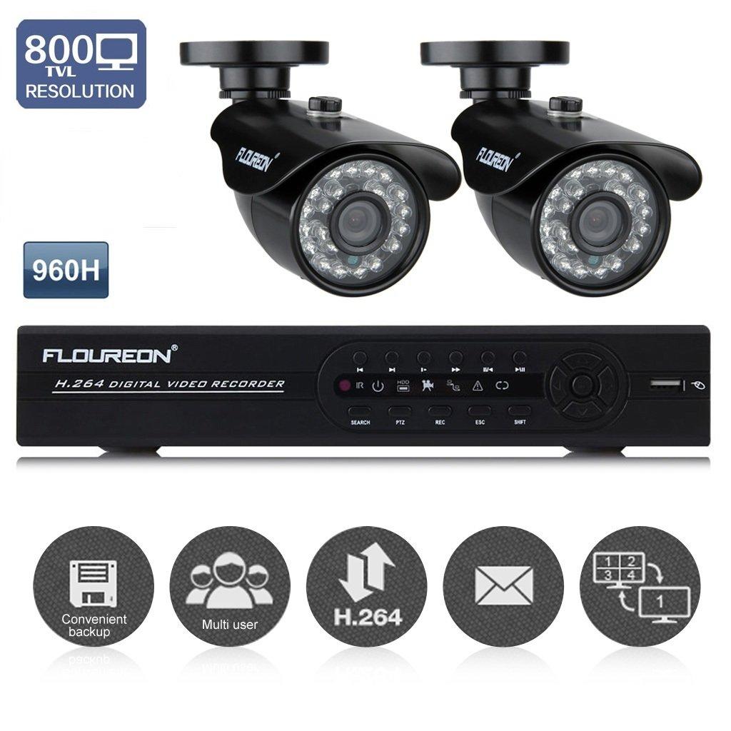 Floureon Kit De Surveillance 4ch Dvr 960h Avec Lot De 2 Cam Ras 800