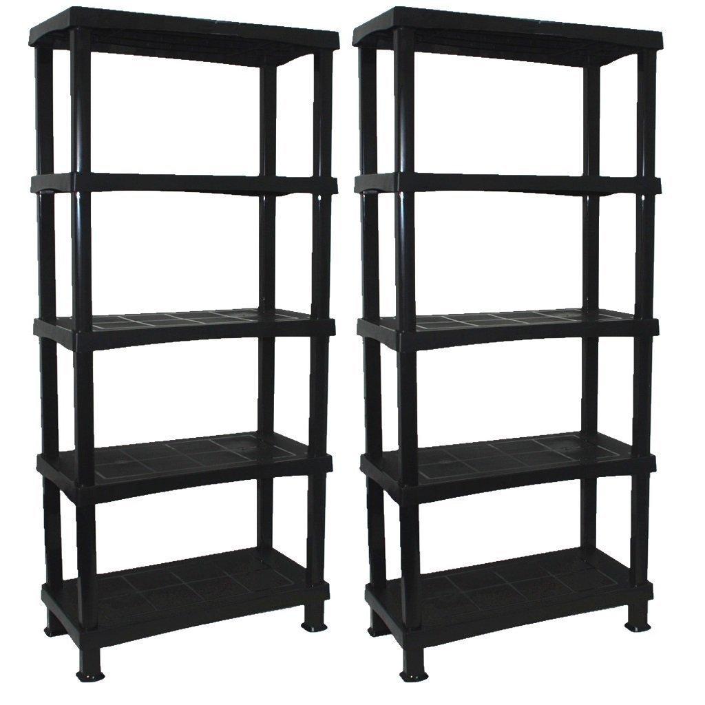 2 x CrazyGadget® Storage Shelving Shelves Unit 5 Tier Racking Plastic for Home Living Room Garage - Extra Large (BLACK) - MADE IN UK