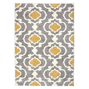 "Rugshop Cozy Moroccan Trellis Indoor Shag Area Rug, 53"" x 73"", Yellow"