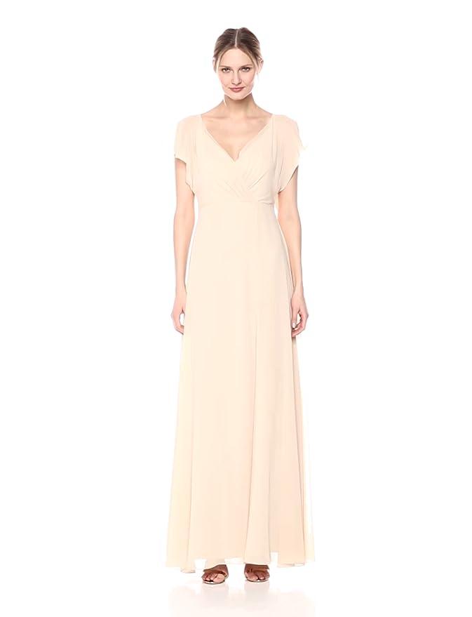 79d8ddeee5 Jenny Yoo Women s Alanna Flutter Sleeve Open Back Long Chiffon Gown at  Amazon Women s Clothing store