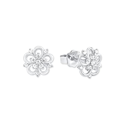 Amor Damen-Ohrstecker 0,9 cm Blume 925 Silber rhodiniert Zirkonia weiß 9b7caa536d