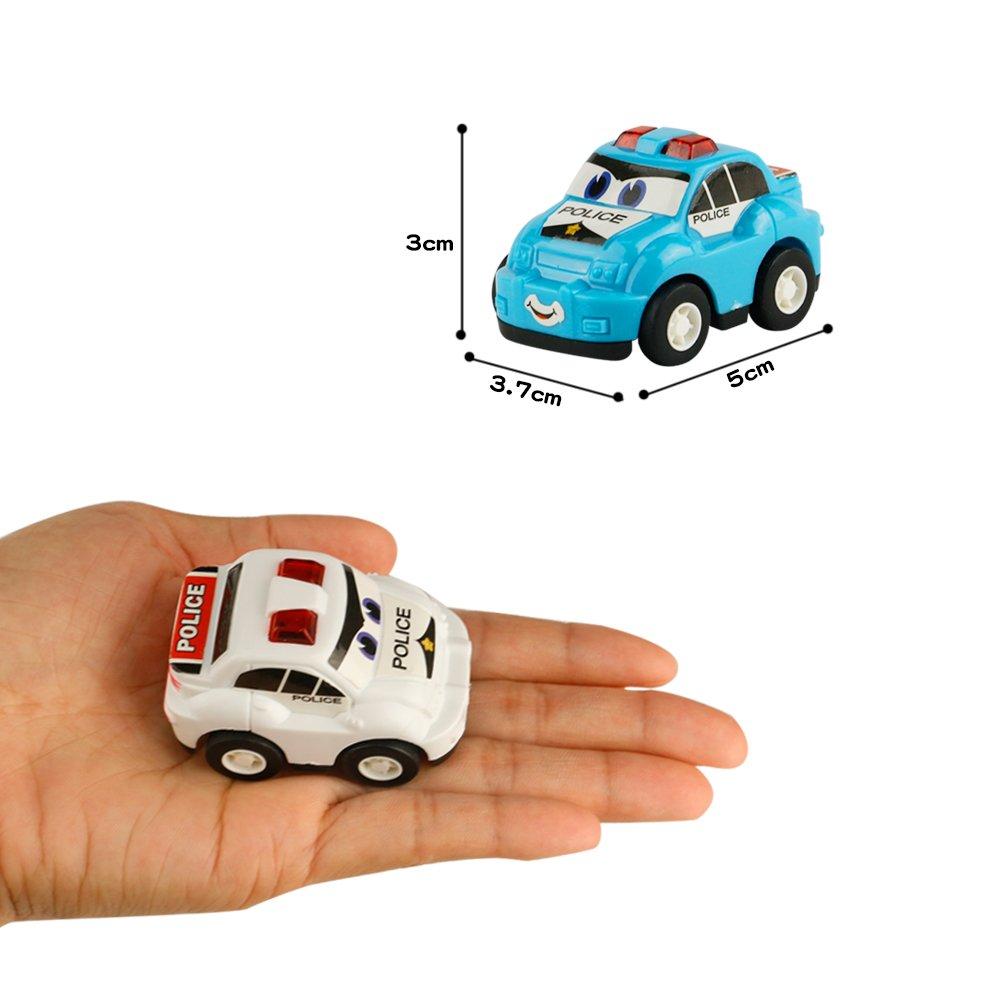 Polizeiauto Spielzeug Rennauto Baufahrzeuge Kinder Zurückziehen Auto Miniaturautos Set für Kinder mit 17 Auto
